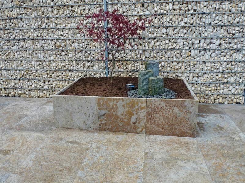 Jago Polyrattan Gartenmobel : Hochbeet aus Muschelkalkplatten
